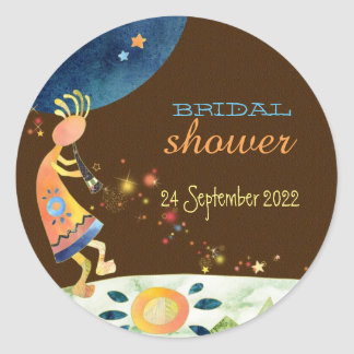 Southwest Kokopelli Fall Bridal Shower Classic Round Sticker