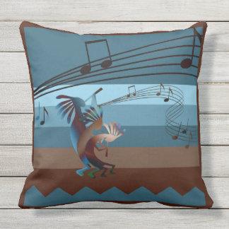 Southwest Kokopelli Music Outdoor Throw Pillow