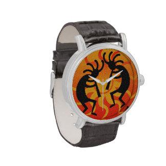 Southwest Kokopelli Orange Black Tribal Sun Wristwatches