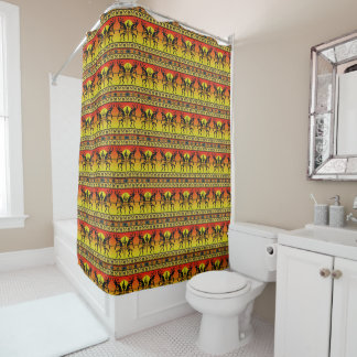Southwest Kokopelli Pattern Yellow And Red Shower Curtain
