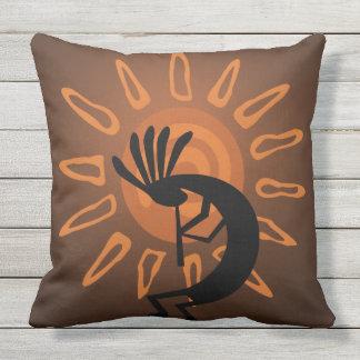 Southwest Kokopelli Sun Rustic Outdoor Pillow