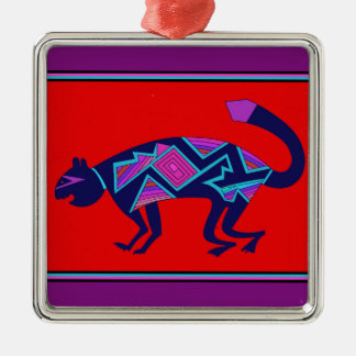 Southwest Mimbres Cat Silver-Colored Square Decoration
