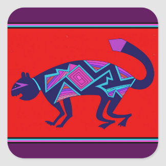 Southwest Mimbres Cat Square Sticker