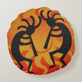 Southwest Orange Tribal Desert Sun Kokopelli Round Cushion