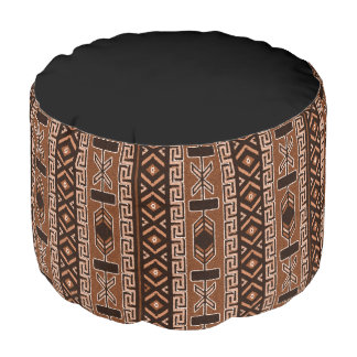 Southwest Pattern Brown And Black Pouf