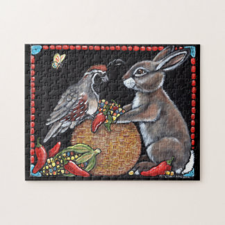Southwest Rabbit Quail Corn Turquoise Puzzle Hard