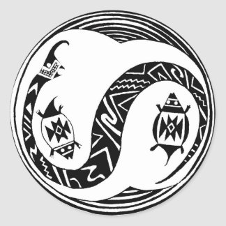 Southwest Serpent Spirit with Turtles Classic Round Sticker