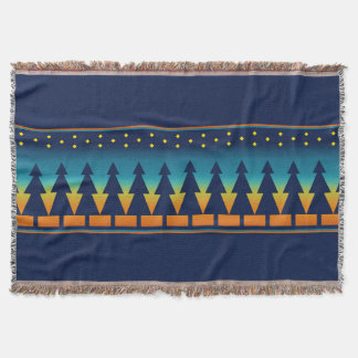 Southwest Sunset Pines Blue Throw Blanket