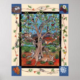 Southwest Tree of Life Wildlife Animals Poster