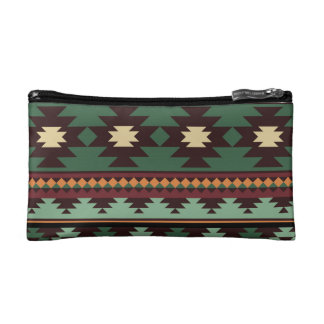 Southwest tribal green brown cosmetic bags