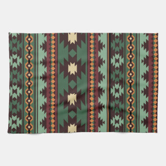 Southwest tribal green brown hand towel