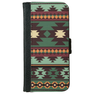 Southwest tribal green brown iPhone 6 wallet case