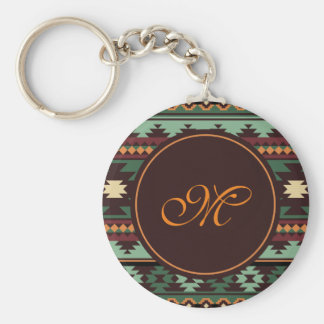 Southwest tribal green brown key ring