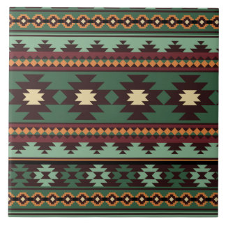 Southwest tribal green brown large square tile