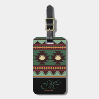 Southwest tribal green brown luggage tag