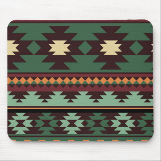 Southwest tribal green brown mouse pad