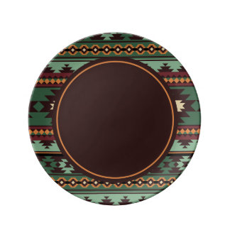 Southwest tribal green brown plate