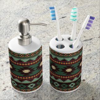 Southwest tribal green brown soap dispenser and toothbrush holder
