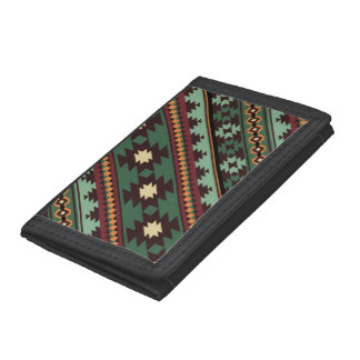 Southwest tribal green brown trifold wallet