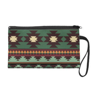 Southwest tribal green brown wristlet clutches