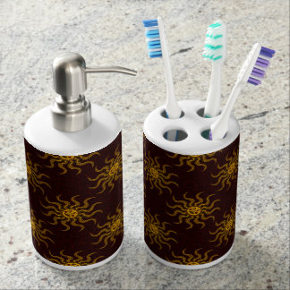 Southwest Tribal Sun Face Soap Dispenser And Toothbrush Holder