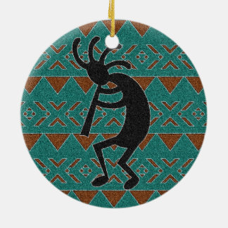 Southwest Turquoise Kokopelli Tribal Design Ceramic Ornament