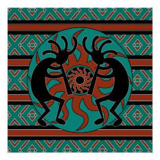 Southwest Turquoise Tribal Sun Kokopelli