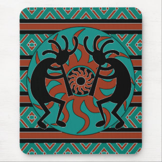 Southwest Turquoise Tribal Sun Kokopelli Mousepad