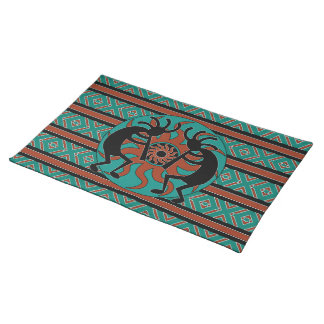 Southwest Turquoise Tribal Sun Kokopelli Placemat