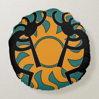 Southwest Yellow Turquoise Tribal Sun Kokopelli Round Cushion