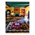 Southwestern Adobe Fireplace Room Hard Wood Floors Postcard
