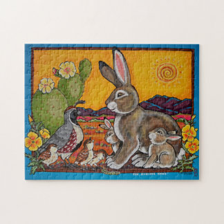 Southwestern Animals Wildlife Rabbit Quail Puzzle