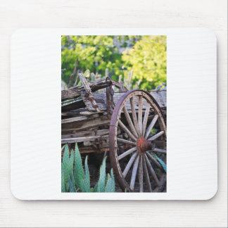 Southwestern Antique Wagon Wheel Cactus Mouse Pad
