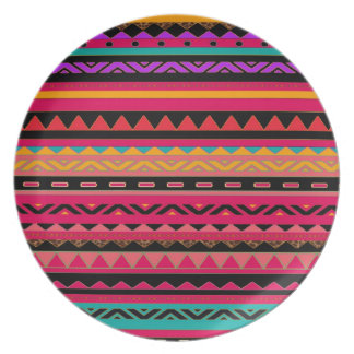 Southwestern Aztec Colorful Pattern Plate
