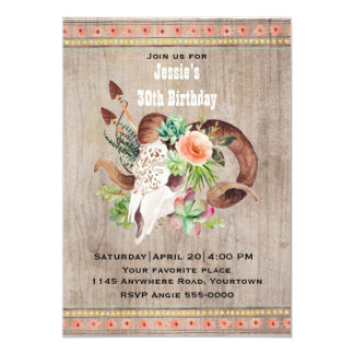 Southwestern Birthday with Goat Skull and Flowers Card