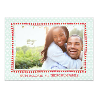 Southwestern Blanket Mint Red Holiday Photo Card 13 Cm X 18 Cm Invitation Card