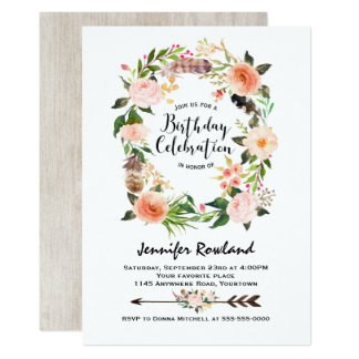 Southwestern Boho Wreath Birthday Invitation