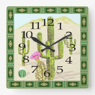 Southwestern Cactus Clock