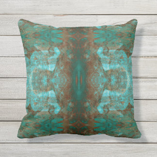 Southwestern Colours Rust Teal Abstract Mirror Outdoor Cushion