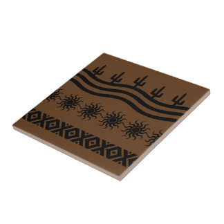 Southwestern Design Black And Brown Tile Trivet