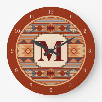 Southwestern Design Tan Monogram Large Clock