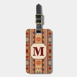 Southwestern Design Tan Monogram Luggage Tag