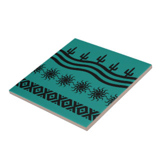 Southwestern Design Teal And Black Tile Trivet
