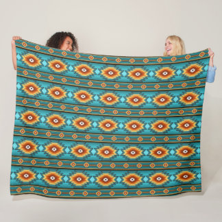 southwestern ethnic navajo tribal geometric fleece blanket