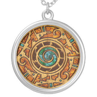 Southwestern Mandala Medallion Silver Plated Necklace