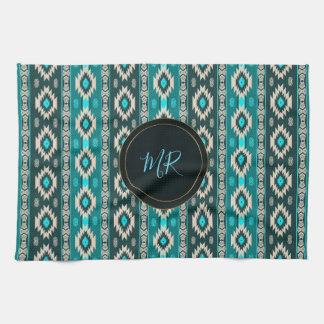 Southwestern navajo ethnic  pattern. Monogram. Tea Towel
