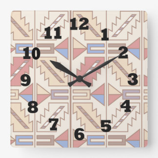 Southwestern Pattern in Brown Red and BLue Square Wall Clock