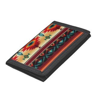 Southwestern pattern trifold nylon wallet