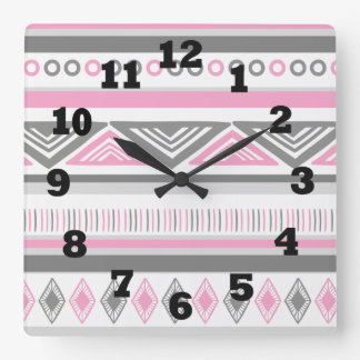 Southwestern Pink White and Gray Square Wall Clock