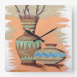 Southwestern Pottery I Square Wall Clock